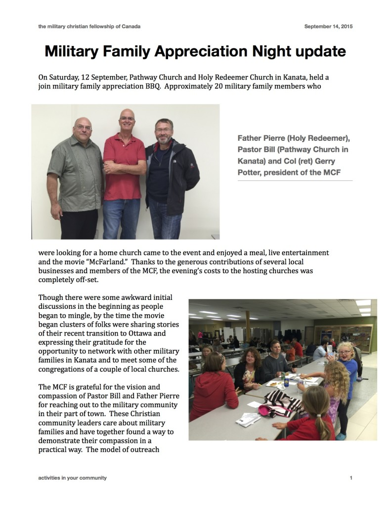 MCF - 2015 BBQ UPDATE FROM GERRY